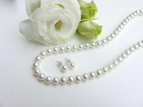 95720916b48184 アコヤ真珠(パール)ネックレス・ピアスセット。イヤリングとのセットもご用意